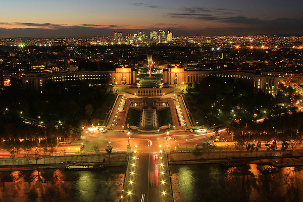 Nightime view of Paris from the Eiffel Tower, Paris, France. .  John offers private photo tours in Denver, Boulder and throughout Colorado, USA.  Year-round. .  John offers private photo tours in Denver, Boulder and throughout Colorado. Year-round.