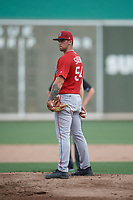 Boston Red Sox pitcher Alex Scherff (54) looks in for the sign during a Florida Instructional League game against the Baltimore Orioles on September 21, 2018 at JetBlue Park in Fort Myers, Florida.  (Mike Janes/Four Seam Images)