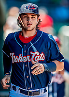 18 July 2018: New Hampshire Fisher Cats shortstop Bo Bichette walks in the dugout during a game against the Trenton Thunder at Northeast Delta Dental Stadium in Manchester, NH. The Thunder defeated the Fisher Cats 3-2 concluding a previous game started April 29. Mandatory Credit: Ed Wolfstein Photo *** RAW (NEF) Image File Available ***