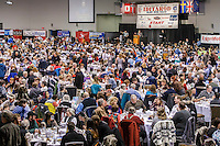 Over 2,000 people attend the 2016 Iditarod musher position drawing banquet at the Dena'ina convention center in Anchorage, Alaska on Thursday March 3, 2016  <br /> <br /> © Jeff Schultz/SchultzPhoto.com ALL RIGHTS RESERVED<br /> DO NOT REPRODUCE WITHOUT PERMISSION