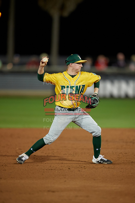Siena Saints shortstop Devan Kruzinski (12) throws to first base during a game against the UCF Knights on February 14, 2020 at John Euliano Park in Orlando, Florida.  UCF defeated Siena 2-1.  (Mike Janes/Four Seam Images)