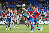 Conor Wickham of Crystal Palace goes high against Matthew Leckie of Hertha Berlin 'during the pre season friendly match between Crystal Palace and Hertha BSC at Selhurst Park, London, England on 3 August 2019. Photo by Carlton Myrie / PRiME Media Images.