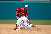 North Carolina State Wolfpack shortstop Will Wilson (8) applies the tag to Anthony Giachin (1) of the Army Black Knights as he attempts to steal second base at Doak Field at Dail Park on June 3, 2018 in Raleigh, North Carolina. The Wolfpack defeated the Black Knights 11-1. (Brian Westerholt/Four Seam Images)