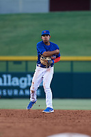AZL Cubs 1 shortstop Fabian Pertuz (12) throws to first base during an Arizona League game against the AZL Royals on June 30, 2019 at Sloan Park in Mesa, Arizona. AZL Royals defeated the AZL Cubs 1 9-5. (Zachary Lucy/Four Seam Images)