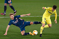 29th April 2021; Ceramica Stadium, Villareal, Spain; EUropa League semi-final football, Villareal CF versus Arsenal;  Manu Triguerof Villarreal CF and Martin Odegaard of Arsenal FC