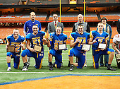 NY State Football Class B Final featuring the Maine-Endwell Spartans of Section IV against the Glens Falls Indians of Section II at the Carrier Dome on November 24, 2012 in Syracuse, New York. Maine-Endwell defeated Glens Falls 42-12.  (Copyright Mike Janes Photography)