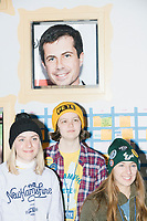 Pete Buttigieg - Kevin Costner drops by campaign office - Manchester NH - 11 Feb 2020