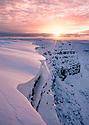 Snaking cornice edge above Alport Dale, Peak District National Park, Derbyshire, UK. December.