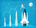 Illustrative representation showing astronautical development