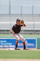 GCL Orioles shortstop Andrew Fregia (19) waits to receive a throw during a game against the GCL Red Sox on August 9, 2018 at JetBlue Park in Fort Myers, Florida.  GCL Red Sox defeated GCL Orioles 10-4.  (Mike Janes/Four Seam Images)