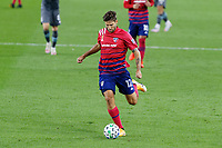 ST PAUL, MN - SEPTEMBER 9: Ryan Hollingshead #12 of FC Dallas dribbles the ball during a game between FC Dallas and Minnesota United FC at Allianz Field on September 9, 2020 in St Paul, Minnesota.