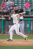 Matt Thaiss (21) of the Salt Lake Bees bats against the Albuquerque Isotopes at Smith's Ballpark on April 24, 2019 in Salt Lake City, Utah. The Isotopes defeated the Bees 5-4. (Stephen Smith/Four Seam Images)