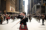 Saturday, April 14,  2007, New York, New York.. The 9th annual Tartan Day Parade was held today on 6th Avenue between 44th and 58th Streets.. Thousands turned out to play the drums, pipes and to view all those dressed for the occasion.  . Andrew Symon, of Scotland, the World Champion Drum Major, leads the Edinburgh Academy CCF Pipes and Drums up 6th Avenue.