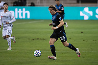 SAN JOSE, CA - NOVEMBER 04: Florian Jungwirth #23 of the San Jose Earthquakes dribbles the ball during a game between Los Angeles FC and San Jose Earthquakes at Earthquakes Stadium on November 04, 2020 in San Jose, California.