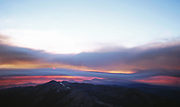 Sunset during the Bear Wildfire in Shasta County, California , 2004