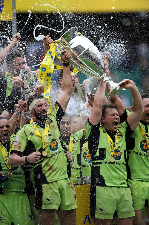 Tom Wood and Dylan Hartley of Northampton Saints celebrate after winning the Aviva Premiership Rugby Final against Saracens at Twickenham Stadium on Saturday 31st May 2014 (Photo by Rob Munro)