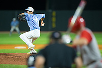 North Carolina Tar Heels relief pitcher Cole Aker (44) in action against the North Carolina State Wolfpack in Game Twelve of the 2017 ACC Baseball Championship at Louisville Slugger Field on May 26, 2017 in Louisville, Kentucky.  The Tar Heels defeated the Wolfpack 12-4 to advance to the semi-finals.  (Brian Westerholt/Four Seam Images)