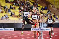 9th July 2021, Monaco, France; Diamond League Athletics, Herculis meeting, Monaco; Hyvin Kiyeng Jepkemoi  leads Emma Coburn in womens 3000m steeplechase