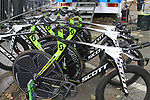 Orica Green Edge Scott Plasma bikes lined up before the Prologue of the 99th edition of the Tour de France 2012, a 6.4km individual time trial starting in Parc d'Avroy, Liege, Belgium. 30th June 2012.<br /> (Photo by Eoin Clarke/NEWSFILE)