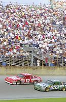 Harry Gant 33 Neil Bonnett 12 action Daytona 500 at Daytona International Speedway in Daytona Beach, FL in February 1986. (Photo by Brian Cleary/www.bcpix.com) Daytona 500, Daytona International Speedway, Daytona Beach, FL, February 16, 1986.  (Photo by Brian Cleary/www.bcpix.com)