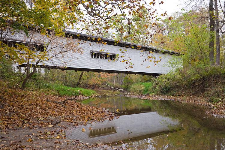 The Portland Mills Covered Bridge over Little Raccoon Creek; Parke County, IN