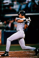Derek Jeter of the New York Yankees bats against the San Diego Padres during the 1998 World Series at Qualcomm Stadium in San Diego, California. (Larry Goren/Four Seam Images)
