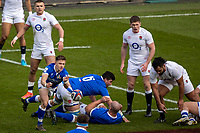 13th February 2021; Twickenham, London, England; International Rugby, Six Nations, England versus Italy; Stephen Varney of Italy passes the ball