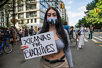 NEW YORK, NEW YORK - June 7: A protester wears a Mexican face mask during a protest in Upper Manhattan on June 7, 2020 in New York, NY. Protesters continue to take to the streets across the United States and in other parts of the world after the murder of George Floyd by a white police officer Derek Chauvin. The protests attempt to give voice to the need for African American human rights. (Photo by Pablo Monsalve / VIEWpress )