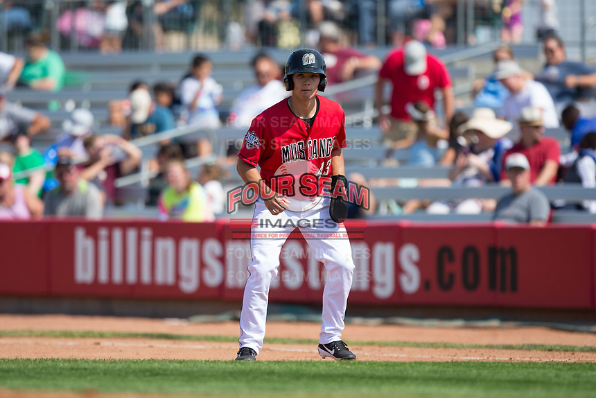 Stuart Fairchild (43) of the Billings Mustangs takes his lead off of first base against the Missoula Osprey at Dehler Park on August 20, 2017 in Billings, Montana.  The Osprey defeated the Mustangs 6-4.  (Brian Westerholt/Four Seam Images)