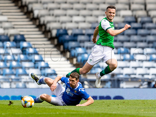 22nd May 2021; Hampden Park, Glasgow, Scotland; Scottish Cup Football Final, St Johnstone versus Hibernian; Craig Bryson of St Johnstone slides in to tackle Paul McGinn of Hibernian but the ball is played ahead