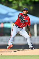Rome Braves starting pitcher Gabriel Noguera (14) delivers a pitch during a game against the Asheville Tourists at McCormick Field on July 20, 2019 in Asheville, North Carolina. The Tourists defeated the Braves 3-2. (Tony Farlow/Four Seam Images)