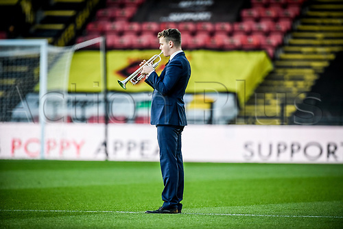7th November 2020; Vicarage Road, Watford, Hertfordshire, England; English Football League Championship Football, Watford versus Coventry City; The last post is played by a bugler