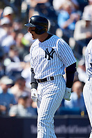 New York Yankees shortstop Troy Tulowitzki (12) celebrates after hitting a home run during a Grapefruit League Spring Training game against the Toronto Blue Jays on February 25, 2019 at George M. Steinbrenner Field in Tampa, Florida.  Yankees defeated the Blue Jays 3-0.  (Mike Janes/Four Seam Images)
