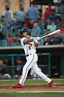 Scott Burcham (5) of the Lancaster JetHawks bats against the Modesto Nuts at The Hanger on May 11, 2017 in Lancaster, California. Lancaster defeated Modesto, 6-0. (Larry Goren/Four Seam Images)