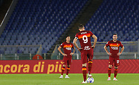 Roma s Edin Dzeko, center, and his teammates react after Benevento scored during the Serie A soccer match between Roma and Benevento at Rome's Olympic Stadium, October 18, 2020.<br /> UPDATE IMAGES PRESS/Riccardo De Luca