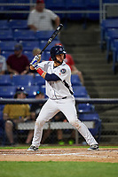 Binghamton Rumble Ponies catcher Colton Plaia (26) at bat during a game against the Altoona Curve on May 17, 2017 at NYSEG Stadium in Binghamton, New York.  Altoona defeated Binghamton 8-6.  (Mike Janes/Four Seam Images)