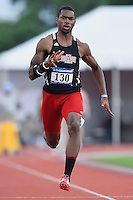 Jaylen Bacon of Arkansas State competes in 100 meter prelims during West Preliminary Track and Field Championships, Friday, May 29, 2015 in Austin, Tex. (Mo Khursheed/TFV Media via AP Images)
