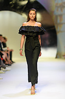 MELBOURNE - September 5, 2019: A model wearing Manning Cartell walks at the Town Hall Closing Runway show during Melbourne Fashion Week in Melbourne, Australia. Photo Sydney Low