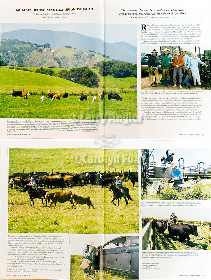 Published photography by Larry Angier..Two spreads photographs, RANGE magazine written and additional photos by Carolyn Fox