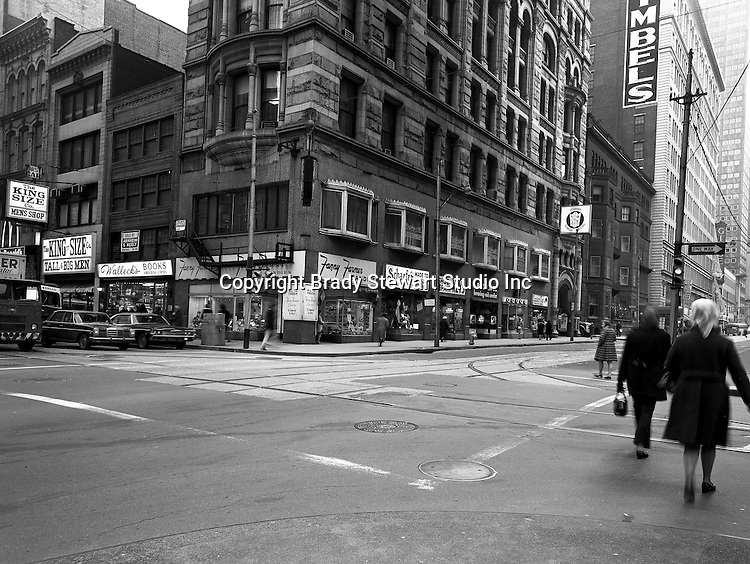 Pittsburgh PA: View of the corner of Sixth Avenue and Wood Street.