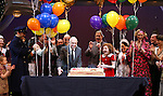 Clarke Thorell, Anthony Warlow, Charles Strouse, Merwin Foard, Lilla Crawford, Jane Lynch, Brynn O'Malley & the cast from Broadway's iconic musical ANNIE celebrate creator Charles Strouse's 85th Birthday at The Palace Theatre in New York City on June 06, 2013.