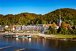 Deutschland, Freistaat Sachsen, Saechsische Schweiz, Elbsandsteingebirge, Kurort Bad Schandau an der Elbe, historischer Raddampfer Meissen | Germany, the Free State of Saxony, Saxon Switzerland, Elbe Sandstone Mountains, health resort Bad Schandau at river Elbe, historic paddle steamer Meissen