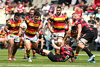 Action from the 2020 Mitre 10 Cup rugby match between Canterbury and Waikato at Orangetheory Stadium in Christchurch, New Zealand on Sunday, 18 October 2020. Photo: Martin Hunter / lintottphoto.co.nz