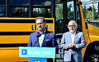 Le chef du Bloc Québécois, Yves-François Blanchet et M. Rhéal Fortin, candidat pour le Bloc Québécois visitent l'entreprise Lion Électrique,le 17 septembre 2021, dans le cadre des élections fédérales 2021.<br /> <br /> L'entreprise se spécialise dans la fabrication d'autobus électriques.<br /> <br /> M. Blanchet a fait la visite a compagnie du président fondateur, M. Marc Bédard ainsi que de M. Rhéal Fortin, candidat pour le Bloc Québécois dans la circonscription de Rivière-du-Nord.<br /> <br /> Mathieu Tye