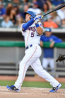 Tennessee Smokies catcher Ian Rice (5) swings at a pitch during a game against the Pensacola Blue Wahoos at Smokies Stadium on August 5, 2017 in Kodak, Tennessee. The Smokies defeated the Blue Wahoos 6-2. (Tony Farlow/Four Seam Images)