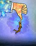 Illustrative image of businessman holding superior's thumb representing business depression