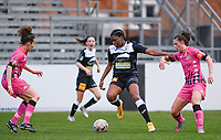 Henriette Awete (19)  of Eendracht Aalst pictured in a duel with Noemie Fourdin (11) of Sporting Charleroi during a female soccer game between Eendracht Aalst and Sporting Charleroi on the 18 th and last matchday before the play offs of the 2020 - 2021 season of Belgian Scooore Womens Super League , Saturday 27 th of March 2021  in Aalst , Belgium . PHOTO SPORTPIX.BE | SPP | DAVID CATRY