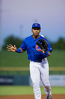 AZL Cubs center fielder Nelson Velazquez (20) jogs off the field between innings of the game against the AZL White Sox on August 13, 2017 at Sloan Park in Mesa, Arizona. AZL White Sox defeated the AZL Cubs 7-4. (Zachary Lucy/Four Seam Images)