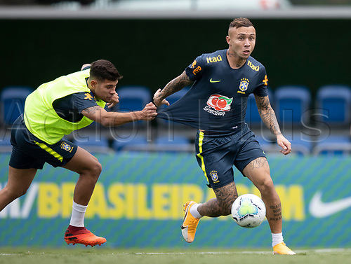 12th November 2020; Granja Comary, Teresopolis, Rio de Janeiro, Brazil; Qatar 2022 World Cup qualifiers; Bruno Guimaraes and Everton of Brazil during training session