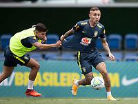 12th November 2020; Granja Comary, Teresopolis, Rio de Janeiro, Brazil; Qatar 2022 World Cup qualifiers; Bruno Guimaraes and Everton of Brazil during training session